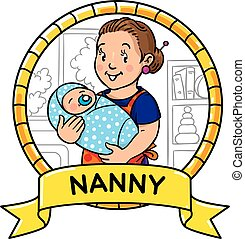 Funny mother or nanny with baby. Emblem.