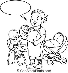 Funny mother or nanny with children. Coloring book
