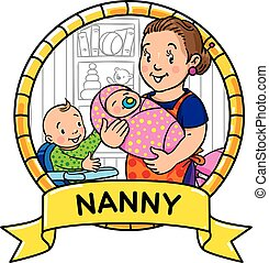 Funny mother or nanny with children. Emblem.