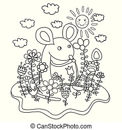 Funny mouse with flowers. Coloring book