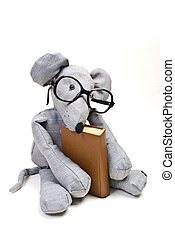 funny mouse with glasses reading a book