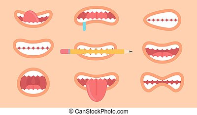 Funny Mouth Collection on Vector Illustration