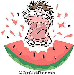 funny mouth eating watermelon