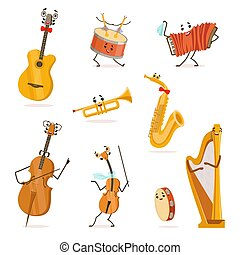Funny Musical Instruments Cartoon Characters with Funny Faces Set, Cello, Saxophone, Trumpet, Accordion, Guitar, Tambourine, Violin, Drum, Harp, Violoncello Vector Illustration
