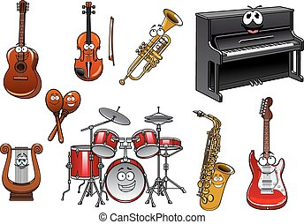 Funny musical instruments cartoon characters