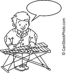 Funny Musician Or Xylophone Player Profession Abc Series Children
