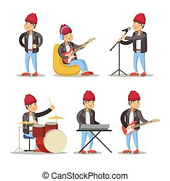 Funny Musicians Cartoon. Man Playing on Guitar. Rock Singer. Vector character illustration