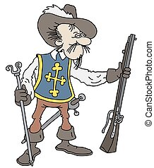 Funny musketeer - Hand drawing of a funny musketeer
