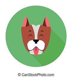 Funny Muzzle of Staffordshire Terrier Flat Theme