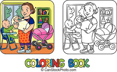Funny nanny with children. Coloring book.