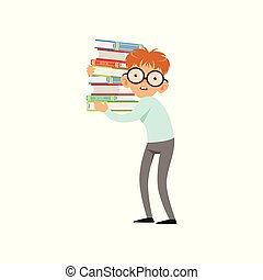 Funny nerd boy carrying stack of books. Cartoon schooler character in glasses, shirt and pants. Smart kid with two large front teeth. Flat vector design