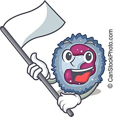 Funny neutrophil cell cartoon character style holding a ...