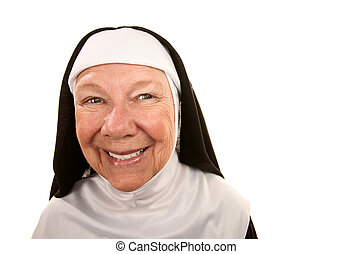 Funny Nun with Happy Expression on her Face