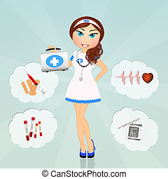 funny nurse girl - illustration of funny nurse girl