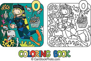 Funny oceanographer or diver. Coloring book - Coloring...