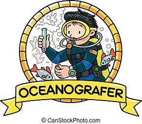 Funny oceanographer or diver. Emblem