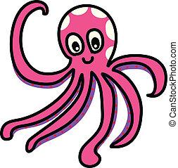 funny octopus cartoon hand-drawn
