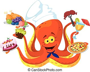 funny octopus cook - illustration of a funny octopus cook