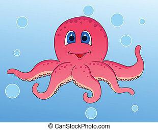 Vector illustration of funny octopus cartoon