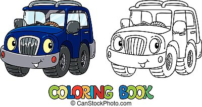 Funny offroader with eyes coloring book