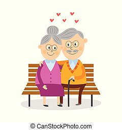 Funny old couple sitting together on park bench