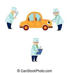 Funny old doctor checking and curing sick car
