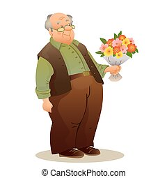 Funny old man with glasses. Elderly man holding a bouquet of flo