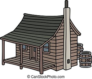 Funny old planked cabin - Hand drawing of an funny old ...