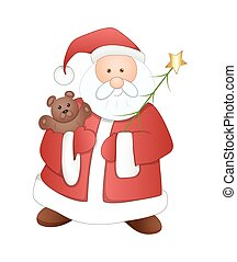 Funny Old Santa with Teddy Bear