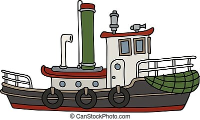 Funny old steam tug - Hand drawing of a funny old steam...