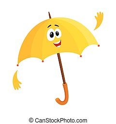 Funny open umbrella character with smiling human face waving hello