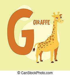 Funny orange giraffe on the background of the letter G. Vector illustration