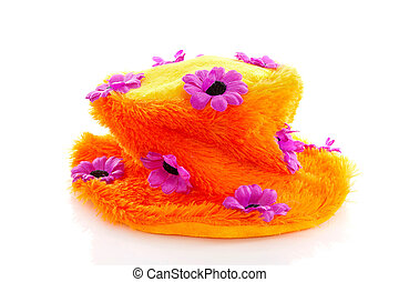Funny orange hat with purple flowers