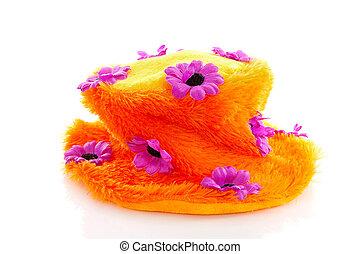 Funny orange hat with purple flowers