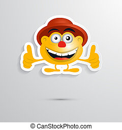 Funny Orange Man with Hat Made from Paper, Icon, Symbol