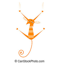 Funny orange striped cat for your design