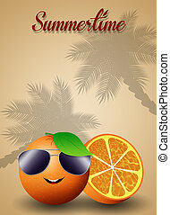 Funny orange with sunglasses
