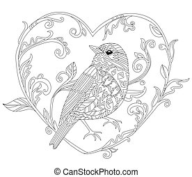 funny ornate decorative bird standing, looking away. outline dra