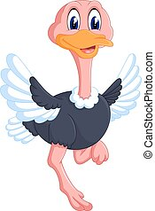 Funny ostrich cartoon - illustration of Funny ostrich...