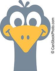 Funny ostrich cartoon head