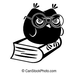 Funny owl and a book