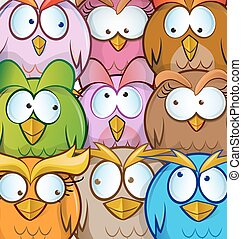 funny owl cartoon background