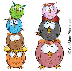 funny Owl cartoon group
