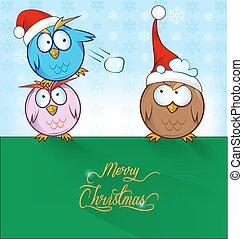 funny owl cartoon ON CHRISTMAS BACKGROUND
