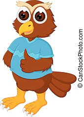 funny owl cartoon standing with smile and thumb up