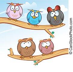 funny owl group cartoon