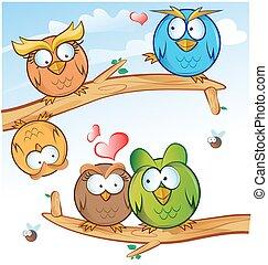 funny owl group cartoon on tree