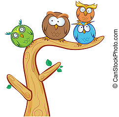funny owl group cartoon