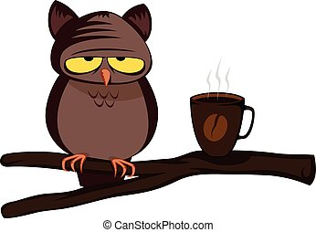 Funny owl - hard morning (with coffee)