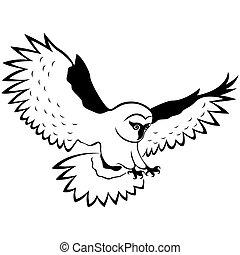 Funny owl in flight